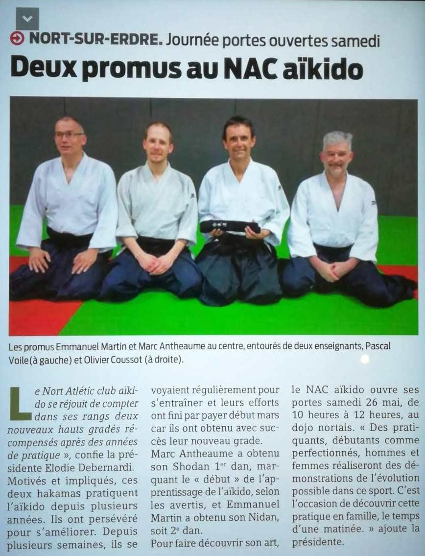 Séance de remise de ceinture noire à l'occasion du passage de grade de Marc, club d'aïkido de Nort sur Erdre.