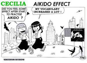 Dessin de deux petites filles qui discutent entre elles sur ce que leur apporte l'aïkido