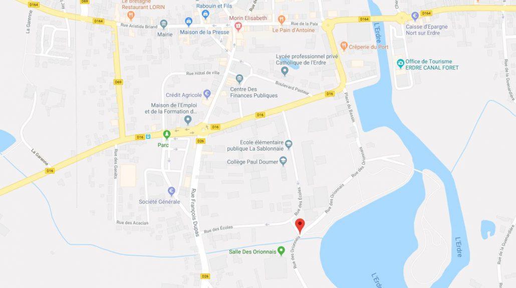 Carte Google adresse du dojo Nort-sur-Erdre.